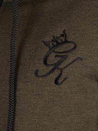 Gym King Uomo Prestazioni Zip Logo con cappuccio, Verde Verde