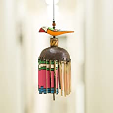 ExclusiveLane Garden Decorative Wooden Bird Hanging Kutchh Bells Wind Chimes (11.4 cm x 10.1 cm x 39.3 cm, Multicolour)