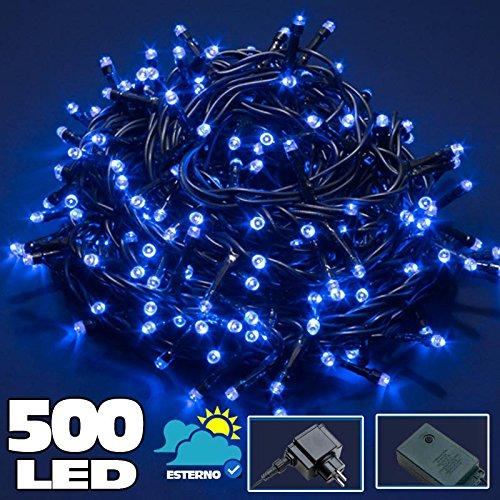 Bakaji Lighting Catena Luminosa 500 Luci LED Lucciole BLU Controller 8 Funzioni Impermeabile Antipioggia per uso Interno ed Esterno, Luci di Natale, Cavo Verde, Luci per Albero di Natale