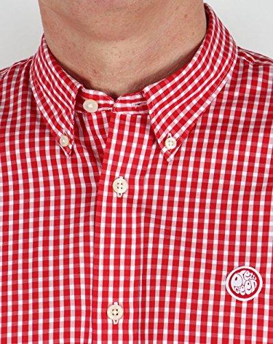 Pretty Green Herren Freizeit-Hemd Rot Rot Rot