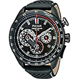 Gents/Men's Black Ionised Pulsar Chronograph World Rally Watch on Black Leather Strap. PU2077X1