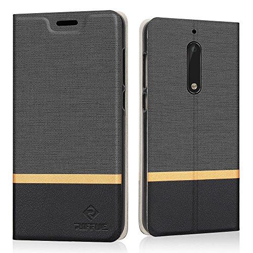Preisvergleich Produktbild Nokia 5 Hülle,  Riffue Dünnes Retro Denim Muster PU Leder Schutz Folio Schützende Abdeckung für Nokia 5 - Schwarz