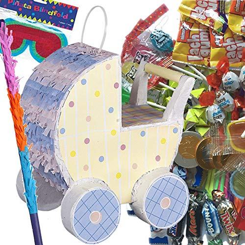 Pinata Set: * Kinderwagen * mit + Maske + Schläger + 100-teiliger Süßigkeiten-Füllung No.1 von Carpeta© | Handgefertigte Pinata | Tolles Spiel für Kindergeburtstag, Baby Boy oder Baby Girl-Party