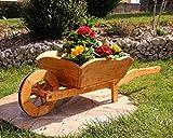 holzdekoladen Plantación de Carretilla Cesta de flores Carretilla De Madera tratados - Grande