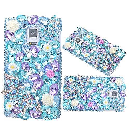 Spritech (TM) 3D Handmade Nette Floret Bling Schmetterling Blue Light Lila Diamant-Entwurf harter Caver Gehäuse für Samsung Galaxy S6