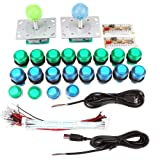 2 Player Classic Arcade Games Contest DIY Kit Parts 2 Ellipse Oval Joystick Handles + 20 LED lit Arcade Buttons Arcade Mame R