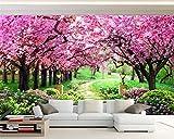 BZDHWWH Benutzerdefinierte 3D Fototapete Kirschbaum Garten Garten Pfad Landschaft Wandbild Wohnzimmer Schlafzimmer Hintergrundbild,50cm (H) x 70cm (W)