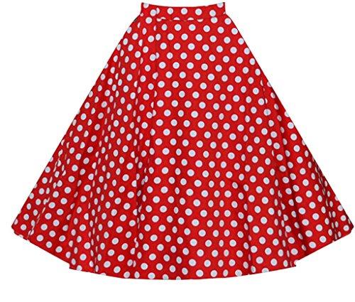 XMY Women ladies Pleated Vintage Skirts Floral Print Midi Skirt dress Kleid UK/10-43 US/S-XXL (Floral Skirt Pleated Midi)