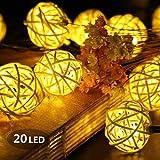 Stringa Luci Led, Morbuy 2m Luce Decorativa 20 LED Luci Batteria Catena Luminosa Sfera Palla Luci Della Stringa Luce Ghirlanda Catene Luminose Ideale Per Addobbi Festa Natale Matrimonio (Bianco Caldo)
