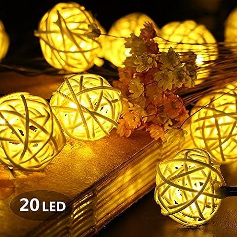 Guirlande Lumineuse Boule, Morbuy Batterie Lumineuse Boules 20 Led boules Longueur 2 Mètres Alimenté par Batterie Ficelle Lumière Décoration Pour La Saint Valentin Noël Fêtes Mariage d'autres Fêtes (Blanc Chaud)