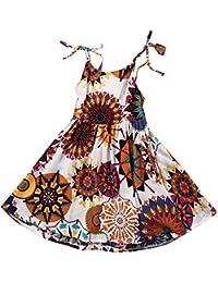 12b1d138d Covermason Bebé Niñas Bohemio Flor Impresión Escotado por Detrás Cabestro  Vestidos ...