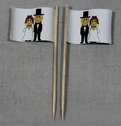 Hochzeit 2 Brautpaar Papierfähnchen in Profiqualität 50 Stück Beutel Offsetdruck Riesenauswahl aus eigener Herstellung ()