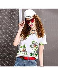 Heart&M de las mujeres ajustado de cuello redondo manga corta impresión camiseta irregular Tops . 2xl . white