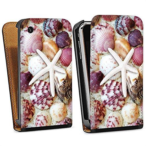 Apple iPhone 5 Housse étui coque protection Coquillages Moules Étoile de mer Plage Sac Downflip noir