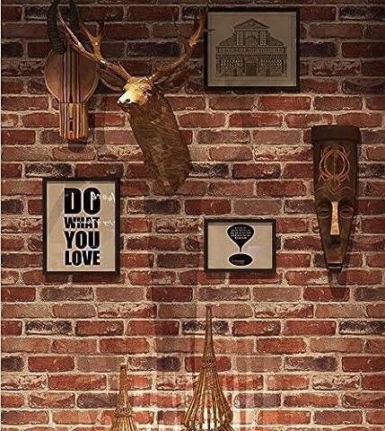 Tapete gesundes PVC Retro Stil 3D Nachahmung Ziegel Textur Tapete Dekoration Wohnzimmer Restaurant TV Wand Schlafzimmer Kaffeehaus Bekleidungsgeschäft Hotel Tapete 53 cm * 1000 cm , 3