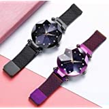 Acnos Black Round Diamond Dial with Latest Generation Black & Purple Magnet Belt Analogue Watch for Women Pack of - 2…