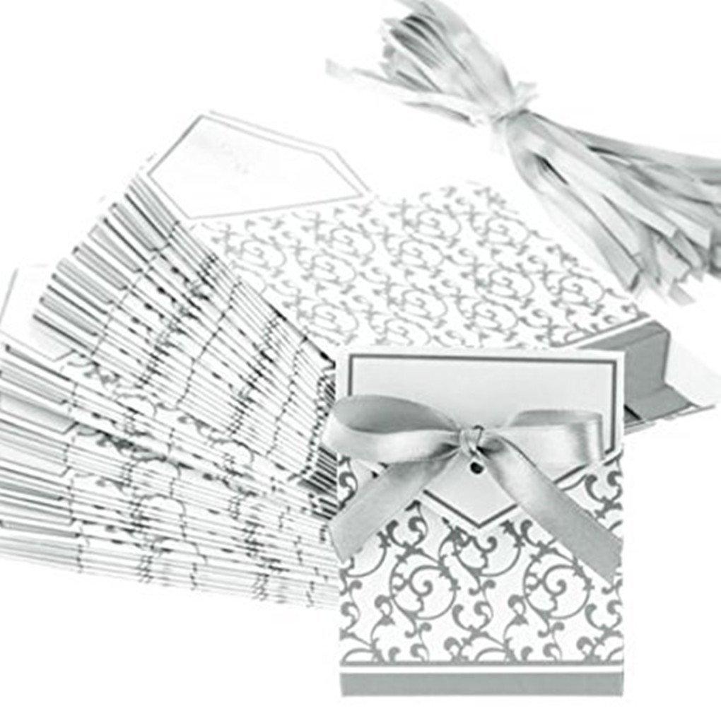 50PCE bomboniere scatole per torta dolce borse ---- (argento)