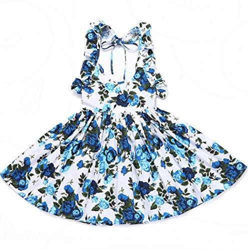 BINGMAX Sommeroutfits Mädchen Vintage Skaterkleid Süß Blumen Prinzessin Kleid Geburtstag Partykleid Strandkleid