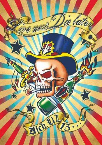 Alchemy UL13 Drapeau - Live Now la Later - gothique Poster drapeau 100% polyester 75 x 110 cm