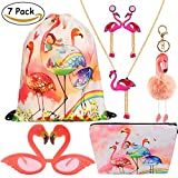 VAMEI 7pack Flamingo Party Favors Girl Gift Tropical Hawaii Luau Summer Party Photo Booth Props Kit Beach Pool Decoration for Girls