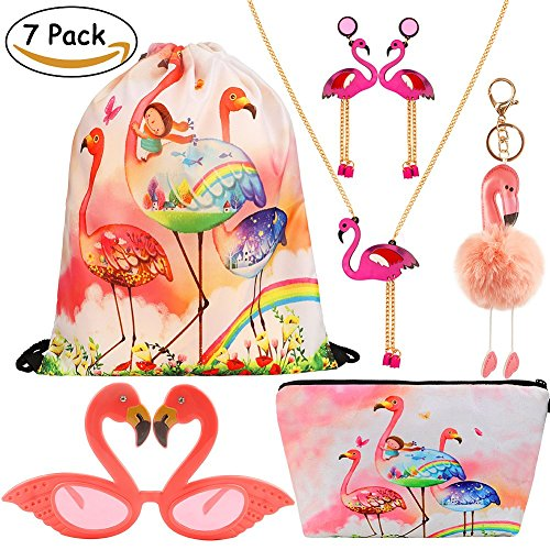 Coupon Matrix - VAMEI 7pack Flamingo Party Favors Girl Gift Tropical Hawaii Luau Summer Party Photo Booth Props Kit Beach Pool Decoration for Girls