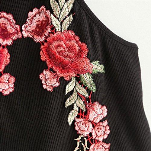OverDose Damen Lace Chiffon Vest Top Sleeveless Casual Tank Blouse Summer Tops T-Shirt Spitze Weste Sommer Blusen B-X-Schwarz1