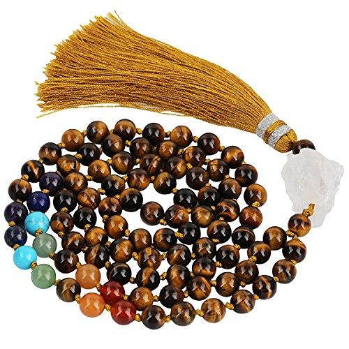 mookaitedecor 8mm Edelstein Armband, Buddhistische Tibetische Gebetskette, Buddha Mala Kette Halskette Schmuck für Yoga & Meditation