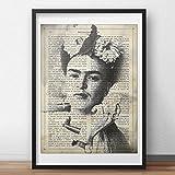 Frida Kahlo Rahmen mit der Definition von Kunst. Plakat mit Bild von Frida Kahlo in Schwarzweiss in A3 Plakat des mythischen Malers Frida Kahlo. Definitionsblatt. Inneneinrichtung. Rahmen zum Rahmen. Papier 250 Gramm hohe Qualität. Dekorieren Sie Ihr Wohnzimmer, Schlafzimmer oder machen Sie das perfekte Geschenk.