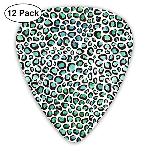 Blue And Green Cheetah Print Classic Celluloid Picks, 12-Pack, For Electric Guitar, Acoustic Guitar, Mandolin, And Bass