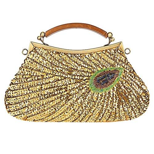 Frauen Abendtasche Pfau Antik Perlen Pailletten Dinner Party Clutch Taschen Geldbörse. 28 X 20 Cm gold