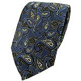 TigerTie Designer Krawatte in blau gold rot schwarz Paisley gemustert