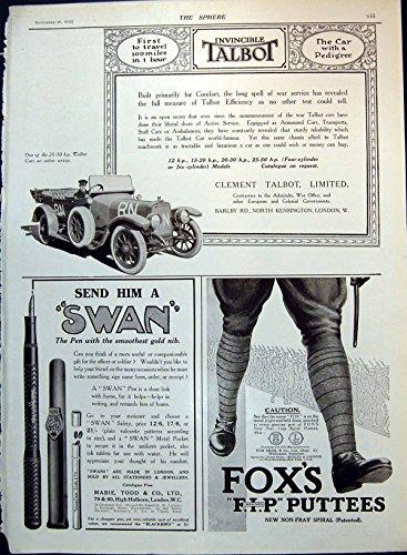 Original old antique victorian print stampi i pneumatici di avon degli annunci delle penne del cigno delle mollettiere del fox dell'automobile di talbot 1915 140t147