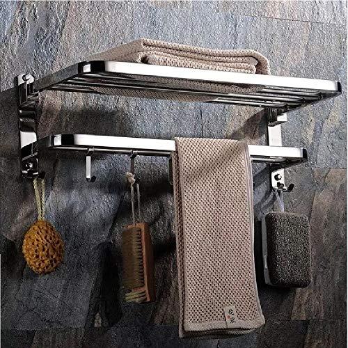 Xiajia-mensola da parete portasciugamani in acciaio inox lucido . scaffale porta asciugamani con barre, stile hotel.60 * 24 * 19.5 cm