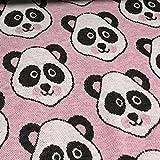 Hamburger Liebe Panda Jacquard Jersey Bio-Stoff Baumwolle kba GOTs Bären Pandabären (Rosa)