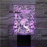 مصباح جداري زيقزيق ال اي دي ثلاثي الابعاد لجمجمة الحلاق، مصباح خيالي، هيكل عظمي، حلاقة، شارب، جمجمة، طاولة، جذب بصري