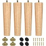 8/15/20 cm houten meubelpoten, set van 4 massief houten conische M8 reservemeubelpoten met voorgeboorde bouten & montageplaat