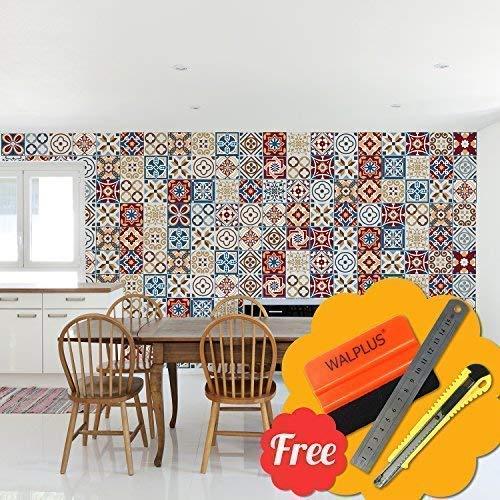 Selbstklebend Wandkunst Aufkleber Vinyl Wohndeko DIY Wohnzimmer Schlafzimmer Küche Dekor Tapete Walplus Braun Gemischt Wand Fliesen Aufkleber 48 Stk. 15cm X 15cm ()