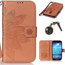 PU Galaxy S4i9500(5pulgadas) funda Flip cover de piel para Samsung Galaxy S4i9500(5pulgadas) Flip Cover Funda Libro Con Tarjetero Función Atril magnético + Polvo Conector