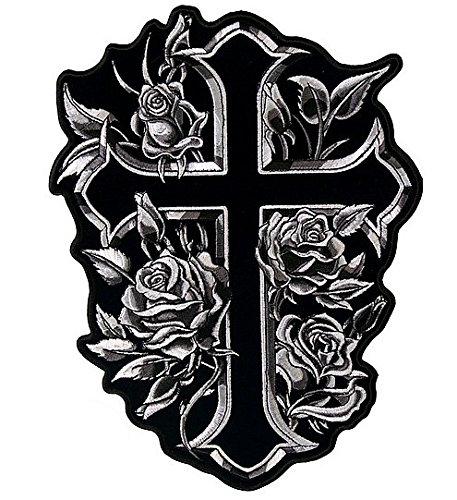Patch Aufnäher Kreuz Flowers Gothic schwarz und weiß klein