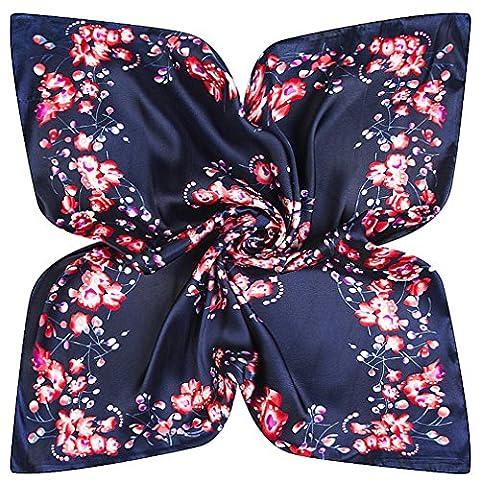 DAMILY Femmes Écharpe Bandana avec Motifs Floraux Doux Carrée Cou Châle Wraps (Bleu Marine)