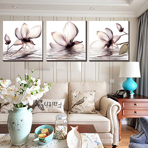 Wangs decorative painting the living room Modern minimalist triple murals sofa background picture Transparent flower Magnolia bedroom wall picture picture frame-B 70x70cm(28x28inch)