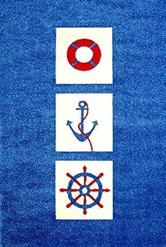 IVI Little Helper Tapis hypoallergénique en relief (134x 180cm, bleu, nautique)