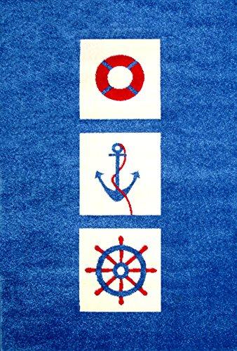 Little Helper ipoallergenico Pile Spesso e di alta qualità 3d in rilievo motivo nautico Tappeto (134x 180cm, grande)