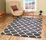 A2Z RUG Cozy Super Trellis Shaggy Rugs Dark Grey & Ivory 160x230 cm - 5'2''x7'5'' ft Contemporary Living Dinning Room & Bedroom Soft Area Rug
