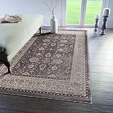 Traditioneller Klassischer Teppich für Ihre Wohnzimmer - Grau Beige - Perser Orientalisches Ziegler Muster - Blumen Ornamente - Top Qualität Pflegeleicht