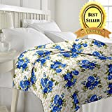 TRUSTFUL Cotton Super Soft Flower Design Print Single Bed Reversible AC Blanket | Dohar | Quilt | Comforter | Duvet (Polycotton, Multicolor)