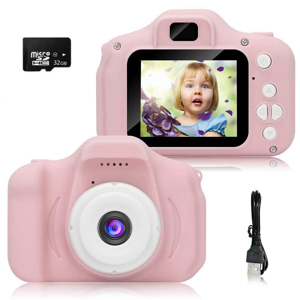 Fotocamera a Forma di Rana 67,5x26,5x6 mm Videocamera Portatile e Ricaricabile Rosa Verde Goplus Fotocamera Digitale per Bambini