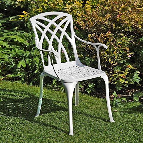 Lazy Susan – SANDRA Quadratischer Kaffeetisch mit 1 APRIL Gartenbank und 2 APRIL Stühlen – Gartenmöbel Set aus Metall, Weiß (Beige Kissen) - 4