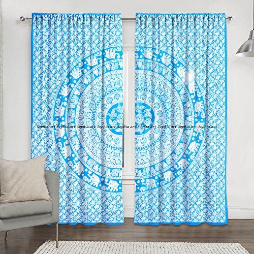 -Mandala-Druck, Küchen-Vorhang und Volant, Set für Wohnheim, Tapisserie, indischer Vorhang für Balkon, Raum-Dekoration, Boho-Set, Hippie-Vorhang ()
