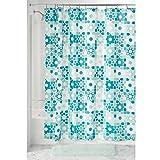 InterDesign Patchwork Floral Duschvorhang | 183,0 cm x 183,0 cm großer Vorhang für Badewanne und Dusche | Duschvorhang aus Stoff mit tollem Patchwork-Muster | Polyester grün/türkis